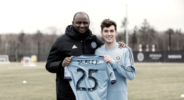 Joe Scally with Patrick Vieira. | Photo: New York City FC