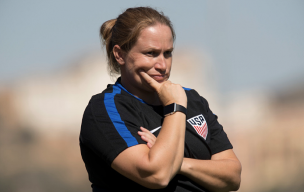 Laura Harvey during her time with the USWNT U23s | Source: Jose Breton/Nurphoto