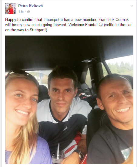 Kvitova announces the appointment via Facebook, In the middle is Cermak while on the right is her fitness coach, David Vydra. Photo credit: Petra Kvitova Facebook.