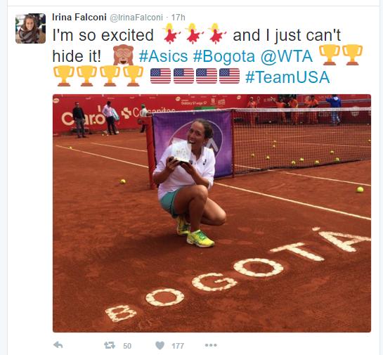 Falconi celebrates her maiden WTA trophy. Photo credit: Irina Falconi Twitter.