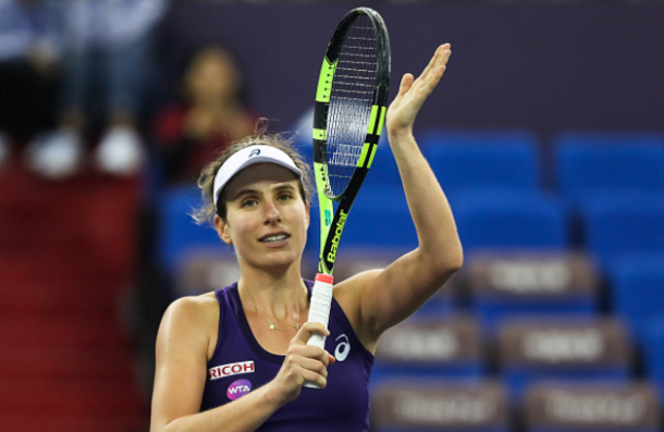 Konta moved past Stosur in a first-time match-up between the pair. Photo credit: VCG/Getty Images.
