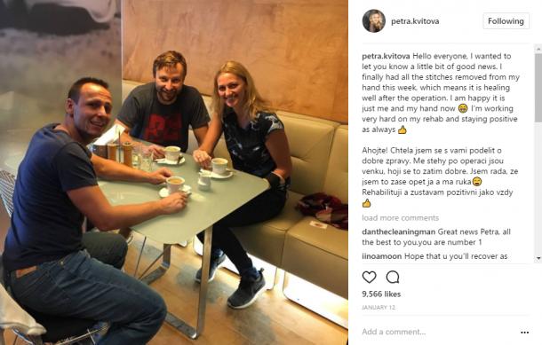 Kvitova's Instagram post revealing that stitches on her hands have been removed. Photo credit: Petra Kvitova Instagram.