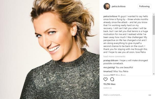 Kvitova's Instagram post, updating fans on her recovery. Photo credit: Petra Kvitova Instagram.