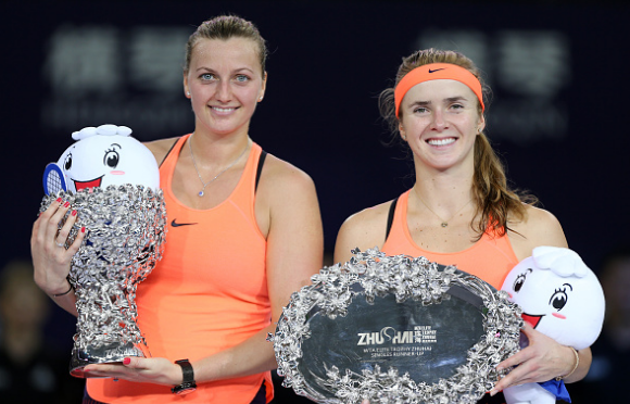 Kvitova and runner-up Elina Svitolina pose with their respective silverware after the conclusion of the final in Zhuhai. Photo credit: VCG/Getty Images.