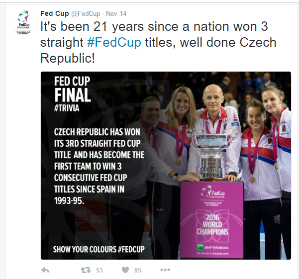 Czech Republic scores its third consecutive Fed Cup title last weekend, becoming the first nation to do so since Spain, who won three in a row from 1993 to 1995. Photo credit: Fed Cup Twitter.