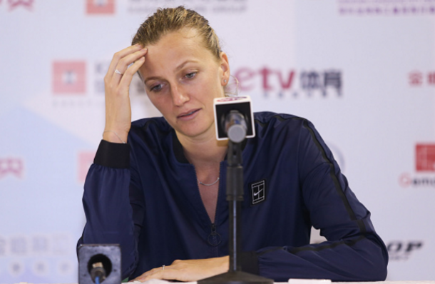 A dejected Kvitova speaks to the press after retiring ill from her opener against Zheng Saisai in Shenzhen. Photo credit: VCG/Getty Images.