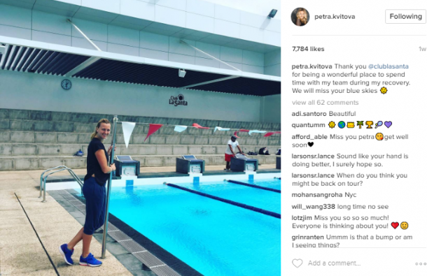Kvitova has completed fitness training at the Canary Islands recently. Photo credit: Petra Kvitova Instagram.