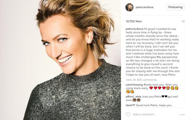 Kvitova updates fans on her recovery process on Instagram. Photo credit: Petra Kvitova Instagram.