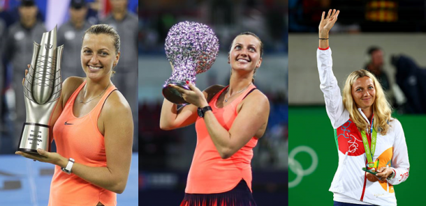 Kvitova captured two titles in 2016, Wuhan (left) and the WTA Elite Trophy in Zhuhai (middle), and claimed the bronze medal at the Summer Olympics in Rio de Janeiro (right). Photo credits: Left (Wang He/Getty Images), middle (WTA Elite Trophy) and right (Clive Brunskill/Getty Images).