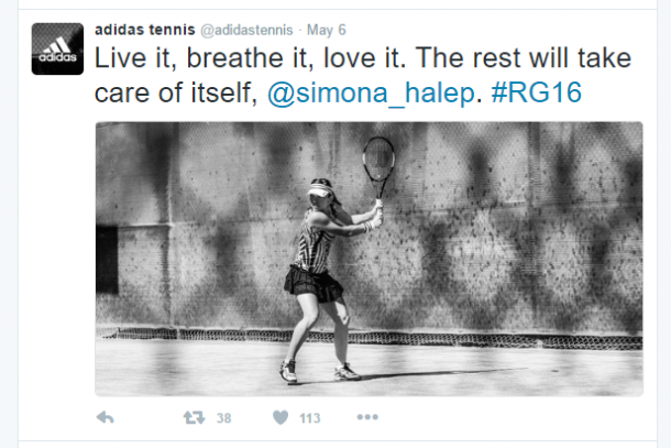 Halep appears in a promotional tweet featuring Adidas' clothing line for the 2016 French Open. Photo credit: Adidas Tennis Twitter.