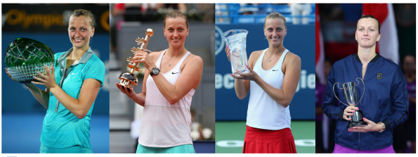  Despite a tough year of 2015, Kvitova won Sydney (left), her biggest title Madrid (second from left), New Haven (second from right) and finished runner-up in Singapore (right). Photo credits: Sydney (Brendan Thorne/Getty Images), Madrid (Despite a tough year of 2015, Kvitova won Sydney (left), her biggest title Madrid (second from left), New Haven (second from right) and finished runner-up in Singapore (right). Photo credits: Sydney (Brendon Thorne/Getty Images), Madrid (Clive Brunskill/Getty Images) , New Haven (Maddie Meyer/Getty Images)Click and drag to move 