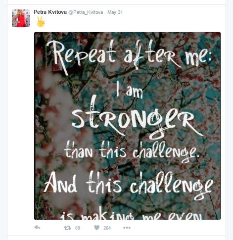 Kvitova is not giving up any hope just yet. Photo credit: Petra Kvitova Twitter.