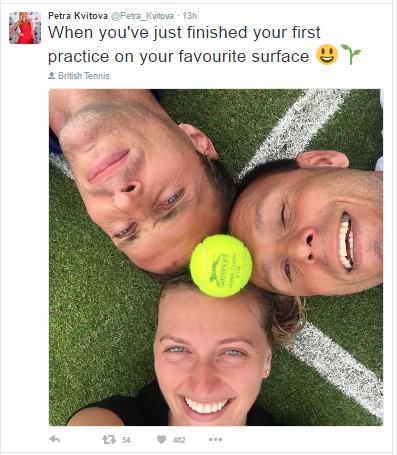 Kvitova is glad to be back on her favourite surface. Photo credit: Petra Kvitova Twitter.