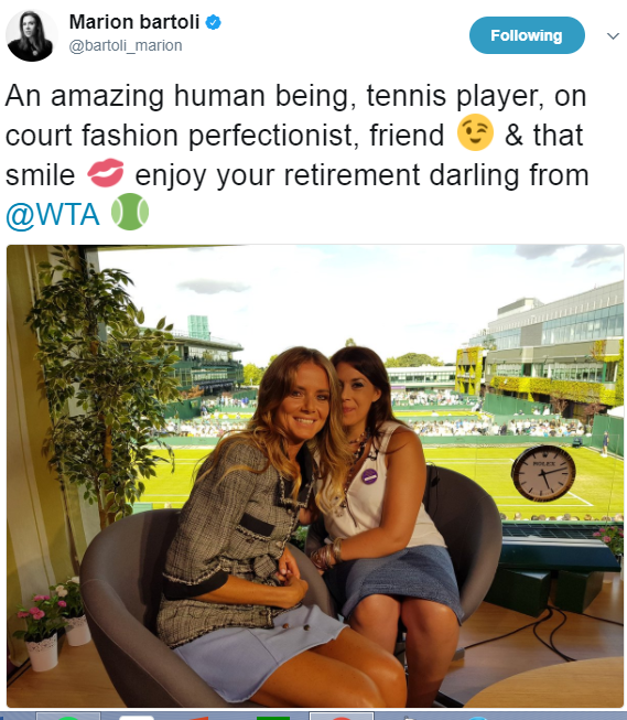 Marion Bartoli took to Twitter to pay tribute to Daniela Hantuchova (Marion Bartoli's Twitter Account)