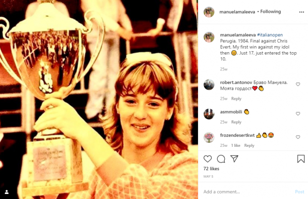Maleeva scored one of her earliest titles at the Italian Open in 1984, then held in Perugia, defeating idol Chris Evert in the final. Photo: Manuela Maleeva Instagram