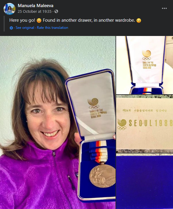 Maleeva showcasing her Olympic bronze medal she won at the 1988 Games in Seoul. Photo: Manuela Maleeva Facebook