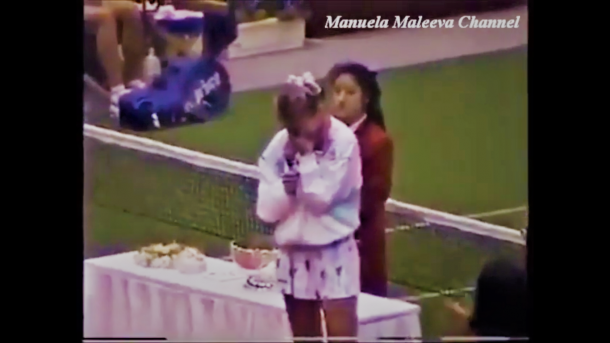 Maleeva shows emotions during her retirement ceremony after claiming the title in Osaka 1994 over Iva Majoli in the final. Photo: Manuela Maleeva Channel