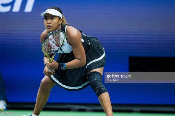 Osaka during her US Open loss to Belinda Bencic (Getty Images/Chaz Neil)