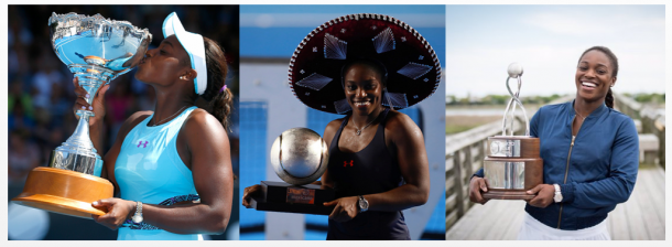 Stephens has won three titles in 2016 namely, Auckland (left), Acapulco (middle) and Charleston (right). Photo credit : Auckland (Phil Walter / Getty Images), Acapulco (Miguel Tovar / Getty Images) and Charleston (Volvo Car Open Twitter).