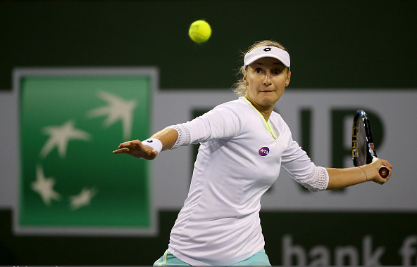 Makarova setting up a forehand/Sean M. Haffey/ GettyImage