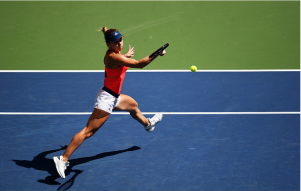 Simona Halep during her first round at the US Open 2016   Mike Hewtt / Getty Sports