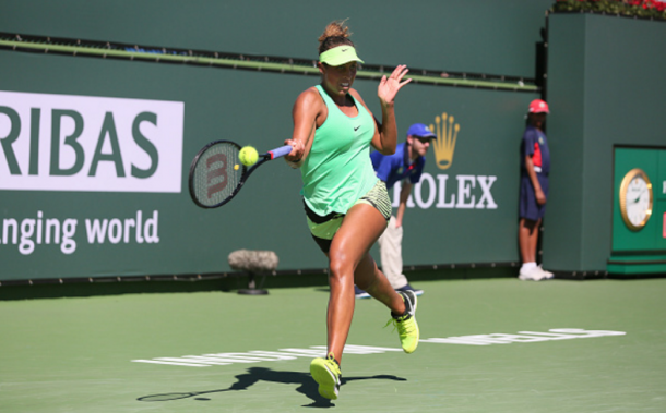 Madison Keys against Mariana Duque-Marino in the second round in Indina Wells | Photo: Icon Sportswire / Getty Images