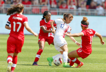 Jessie Fleming and Desire Scott battle for the ball in a match against Costa Rica//Source:Adam Pulicicchio via Getty Images