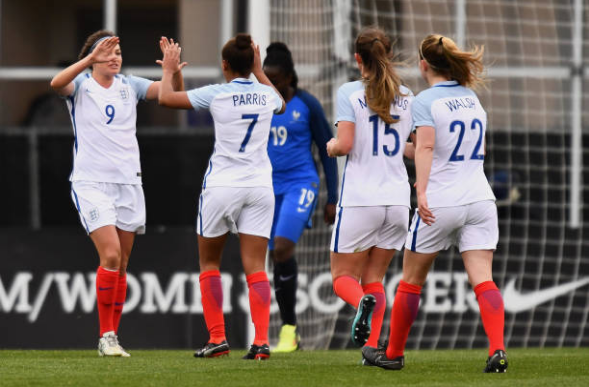 England's Jodie Taylor celebrates after scoring a goal in England's 4-1 victory over France at the 2018 SheBelieves Cup. | Photo: Jamie Sabau - Getty Images