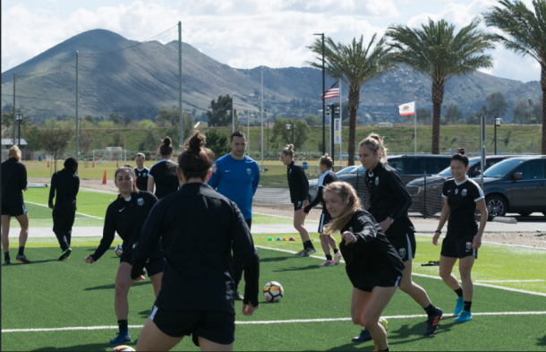 The Seattle Reign players practice in California before their game against UCLA. | Photo: @ReignFC
