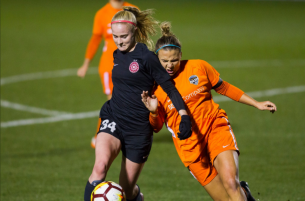 The Portland Thorns and Houston Dash battled to a 0-0 draw in the final match of the Thorns Spring Invitational. | Photo: @ThornsFC