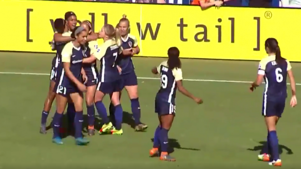 The Courage players celebrate after Jess McDonald scores in stoppage time to give them a 1-0 lead over Sky Blue FC. | Courtesy: @TheNCCourage