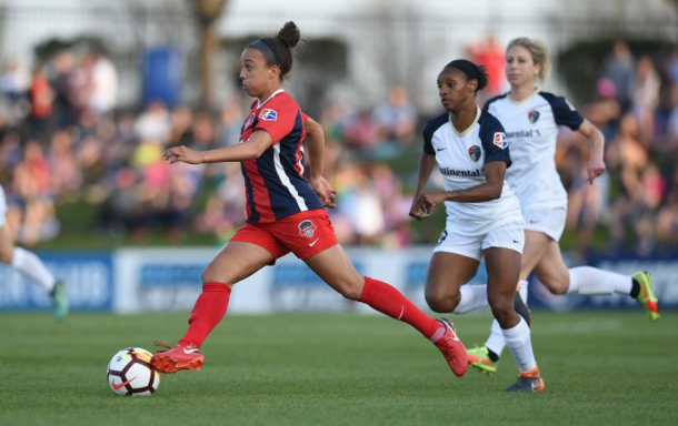 Spirit midfielder Mallory Pugh scored the first goal of the season against the Courage in the third minute of the match. | Photo: @WashSpirit