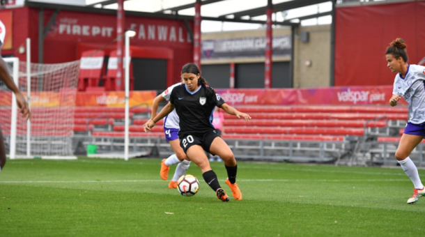 The Red Stars added star striker and former NWSL MVP Sam Kerr (20) during the off season. | Photo Courtesy @chiredstarsPR