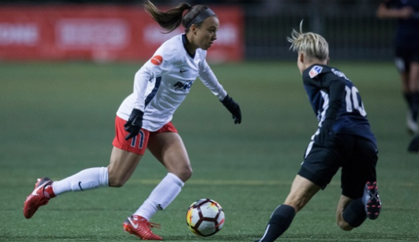 Mallory Pugh (left) and Jess Fishlock (right) face off the in the first meeting between these two teams on March 24th. | Photo: isisports.com via washingtonspirit.com