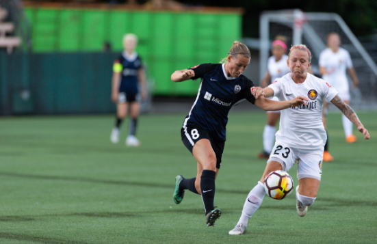 Nordic competition between Seattle's Theresa Neilsen (8, Norway) and Utah's Gunny Jonsdottir (23, Iceland) in the first half of the match. | Photo: isiphotos.com