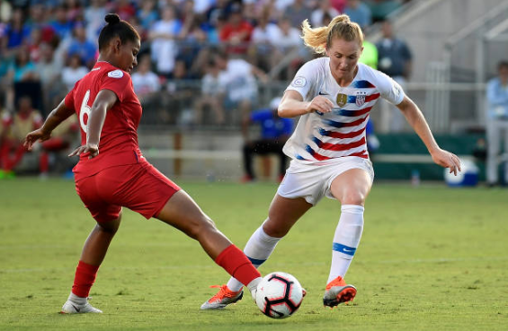 Sam Mewis opened the scoring with a sharp header on Sunday afternoon. | Photo: Mike Comer - Getty Images
