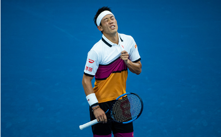Nishikori cut a dejected figure at times in his second round clash (Image source: Zimbio/TPN/Getty Images)