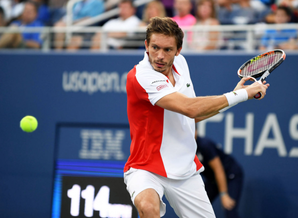 Nicolas Mahut showing off his serve and volleying skills (Photo: Iconsportswire/Getty Images)
