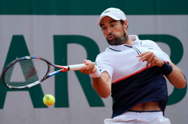 Jeremy Chardy fires a forehand shot (Photo: Francois-Xavier Marit/Getty Images)