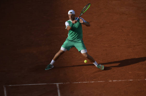 Lucas Pouille plays a forehand shot (Photo: Aurelien Meunier/Getty Images)