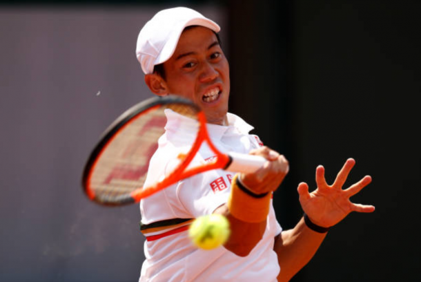 Kei Nishikri gearing up to hit a forehand shot (Photo: Adam Pretty/Getty Images)