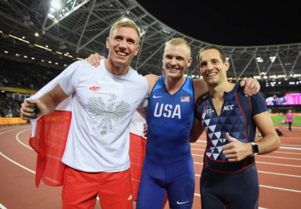 The three medalists Sam Kendricks, Piotr Lisek and Renaud Lavillenie posing together after a thrilling competition (Photo: Matthew Hangst/Getty Images)