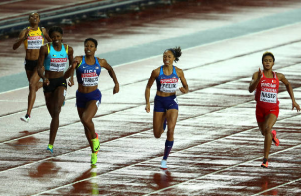 Phyllis Francis, Salwa Eid Naser and Allyson Felix cross the line ahead of Shaunae Miller-Uibo (Photo: Richard Heathcote/Getty Images)