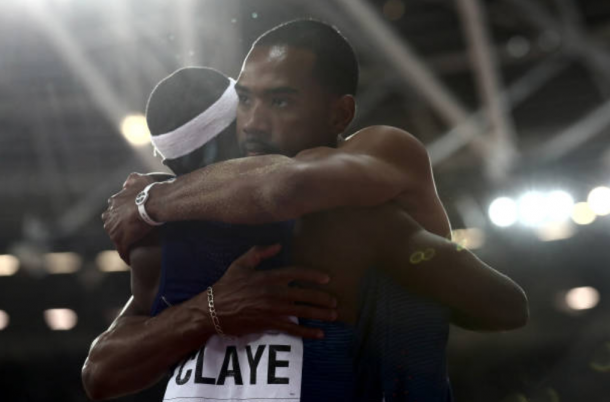 Will Claye congratulates compatriot Christian Taylor on another World CHampionships title (Photo: Alexander Hassenstein/Getty Images)