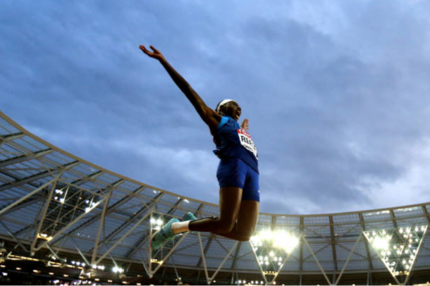 Brittney Reese competes in the Long Jump final (Photo: Alexander Hassenstein/Getty Images)