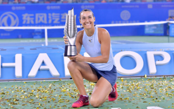 Caroline Garcia winning the Wuhan Open title (Photo: BACH/Getty Images)