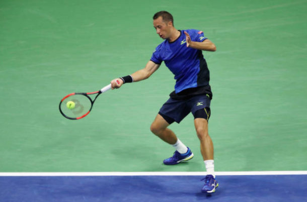 Philipp Kohlschreiber strikes a forehand shot at the US Open (Photo: Clive Brunskill/Getty Images)