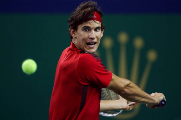 Dominic Thiem gearing up to his his famous backhand (Photo: Yifan Ding/Getty Images)