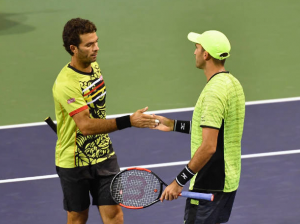 Jean-Julien Rojer and Horia Tecau happy to be through (Photo: Kevin Lee/Getty Images)