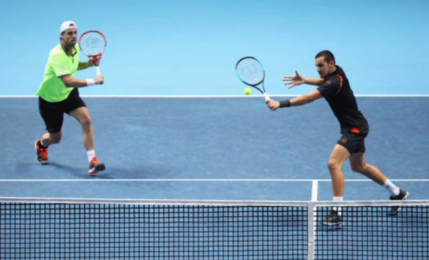Oliver Marach and Mate Pavic in action against the Bryan Brothers (Photo: Julian Finney/Getty Images)
